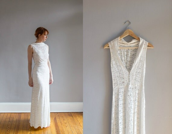 Low Back Lace Wedding Gown: 1930's Lace Wedding Gown With Bolero / Art Deco / Bias Cut