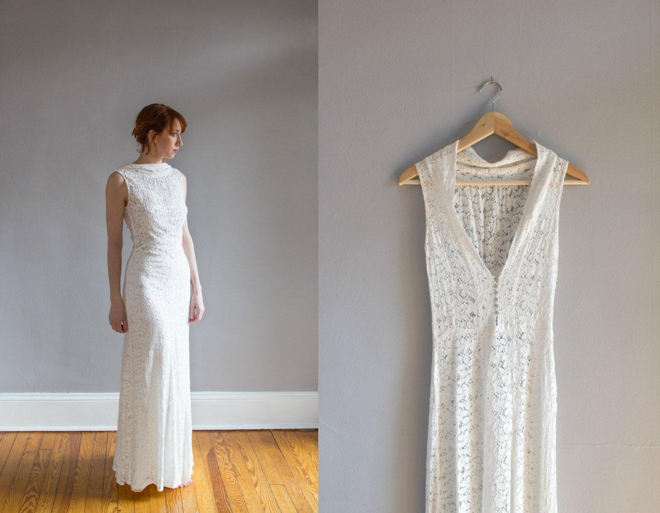 Art Deco Wedding Gowns: 1930's Lace Wedding Gown With Bolero / Art Deco / Bias Cut