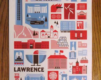 Lawrence Kansas Landmark Screen print (Red and Pearl Blue Edition)