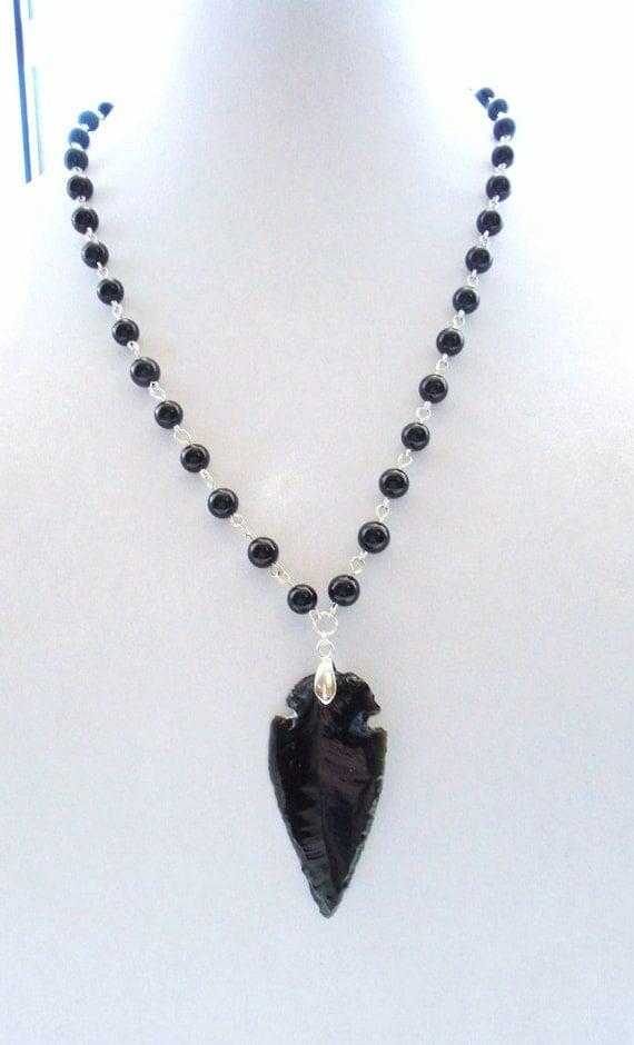 Peaceful Warrior Necklace Black Obsidian Arrowhead Pendant