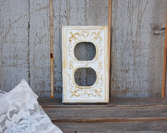 Double Outlet Cover, Shabby Chic, Double Wall Plate, Gold, White, Ornate, Fleur de Lis, Cast Iron