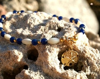 Blue Lapiz & Mother Pearl Bracelet 14k