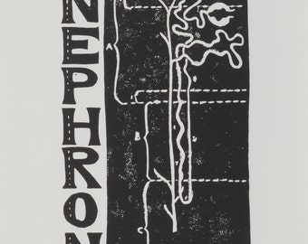 N is for Nephron, limited edition linocut print from the Alport Syndrome alphabet series