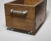 Industrial Storage Box on Wheels - Heavy Wood Storage Bin on Casters - Industrial Box with castors - Wooden toy box - Industrial Toy Storage