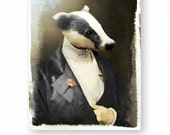 "Badger Art Print, Honey Badger, Fine Art Photography, Surreal Collage, Anthropomorphic, Steampunk, (3 Sizes) ""Pierre 'Digger' Becheur"""