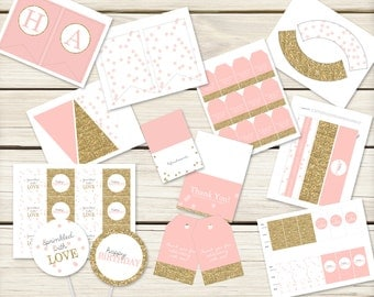 Pink and Gold Party Birthday Package // Pink and Gold Printables // Girl Birthday // Golden Birthday Party // DIY Printables