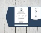 Nautical Pocket Wedding Invitation Template Set - Navy Anchor Striped DIY Printable Editable PDF Templates  Instant Download - DIY You Print