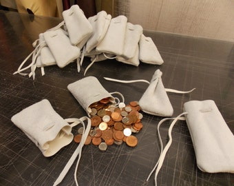 Medieval/ larp/ sca/ pagan/ re-enactment white leather drawstring money pouch/ jewellery bag