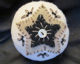 Pincushion in Tan Wool with Stars, Sewing Tool,Sewing Aid,Sewing Box Addition,Sewing Gift,Beautiful Pincushion,Great Pincushion for All