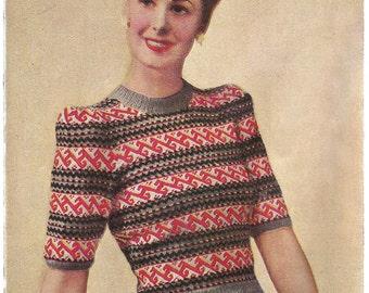 1940s Knitting Pattern for Womens Fair Isle Jumper - Delectable - Penelope - Digital PDF