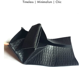 BLACK COLLECTION- Handmade Black Avant Garde Folding Wallet, Crocodile Pattern Natural Cow Leather purse, Origami Wallet