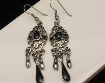 Triple Drop Earrings with Black Stones Silver Tone Wires Pierced Ears