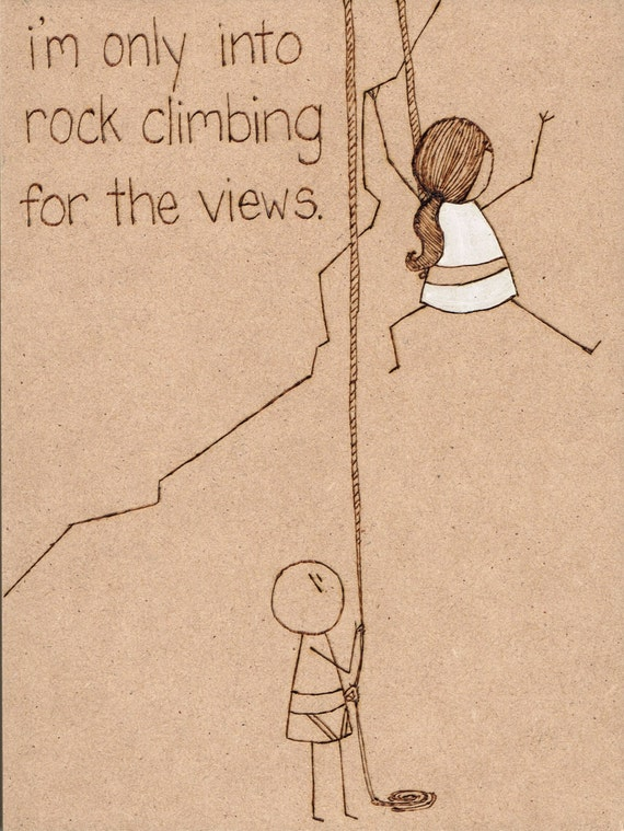 Items similar to like rock climbing for the views mixed for Art sites like etsy
