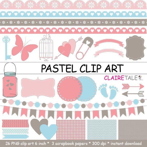 "Digital ""PASTEL CLIP ART"" frames, labels, ribbons, borders, flags, arrows, butterfly, lights, hearts, mason jar, key, bird cage, baby shower"