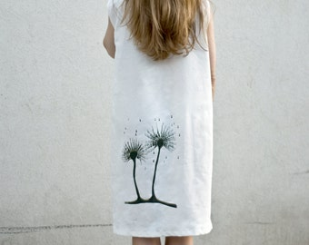 Ivory cotton dress for women with OOAK handmade silk screen print of an original artwork by Alona Praslov