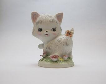 Vintage 1960s Napcoware White Porcelain Kitten Cat Figurine C-8616 Collectible