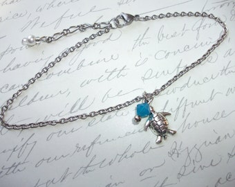 Turtle and crystal anklet/bracelet/necklace