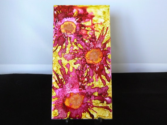how to make alcohol ink flowers on tile