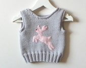 Pink deer baby vest warm merino toddlers vest with deer silver grey baby vest for winter MADE TO ORDER