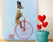 Greyhound Print  Red Penny Farthing Art Print, poster dog illustration dog picture dog gift dog lover dog print painting portrait