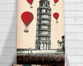 Tower of Pisa  Red Hot Air Balloons Art Print Digital Original Illustration Poster, Mixed Media Drawing Digital Print