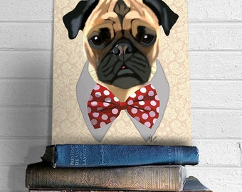 Pug Painting with Bow Tie  puggle  pug poster dog illustration dog picture gift dog lover dog print painting portrait pug print drawing