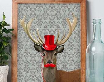 Deer Print  Red Hat And Moustache Art Print Digital Illustration Original Painting Wall Decor Wall hanging Wall Art