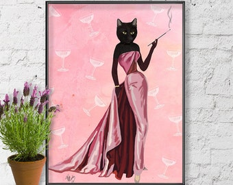 Glamour Cat in Pink cat drawing cat poster cat wall decor cat illustration cat picture gift cat lover black cat print cat art painting