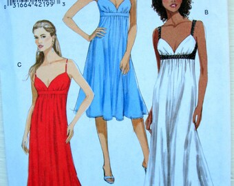 Empire Evening Gown pattern, Plus Size Prom Dress Bridesmaid Gown with cut Out Back Vogue 8475 Sizes 14-22