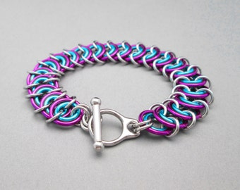 Turquoise and Purple Bracelet, Chain Mail Jewelry, Chunky Bracelet, Toggle Bracelet, Chainmail Bracelet, Thick Link Bracelet, Chain Maille