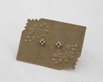 Sterling Silver Mini Beaded Stud Earrings. Delicate Post Earrings. Second Hole Ear Piercing. Tiny Earrings.