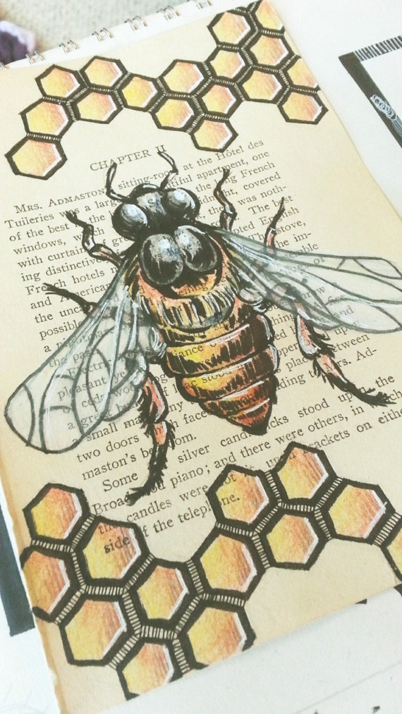 Original Honey Bee Drawing Hand Drawn Book Art