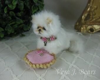 Miniature Artist Plush Kitten Cat with cushion for Bear or Doll Handmade by Vera J.Bears