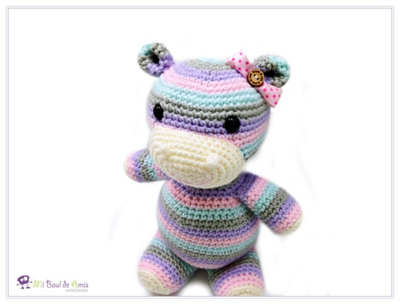 Amigurumi Stripes Tutorial : Crochet Multicolor Hippopotamus Amigurumi Doll Stripes