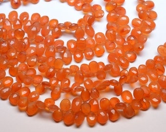 8 Inch 10-13mm Natural Tangerine Orange Carnelian Faceted Pear Briolette Beads Strand-40 Beads Apx/Strand