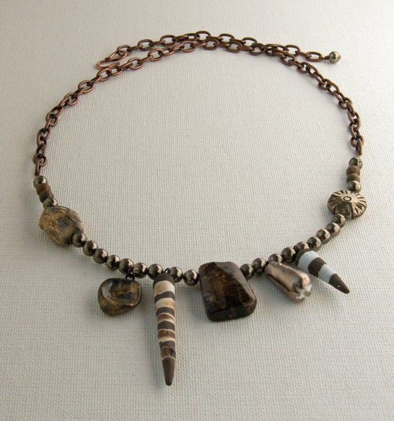 Gatherings tribal primitive gemstone ceramic necklace