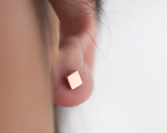 Square stud earrings- Gold square studs- Tiny square earrings- Rose square posts- Geometric jewelry- Square earrings