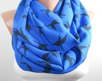 Bird Scarf Infinity Scarf Animal Scarf Blue Scarf Bird Print Scarf Winter Scarf Women Fashion Accessories Christmas Gift For Her For Women