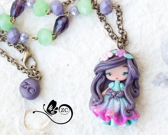 polymer clay necklace doll clay fimo zingara creativa