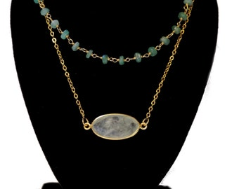 SALE!!Quartz and agate rosary layered necklace