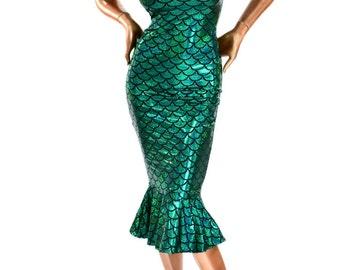 Emerald Green Mermaid Scale Ruffled Cap Sleeve Wiggle Dress Fun and Flirty Retro Bombshell Style!  -150268