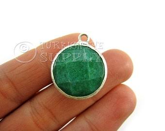 21mm Green Faceted Jade Pendant, Gemstone Pendant, Silver Plated Bezel Pendant, Bohemian Jewelry, Turkish Jewelry
