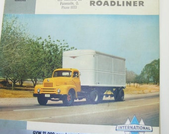 1950s Vintage International Harvester L-185 Roadliner Brochure ,Original International Ephemera