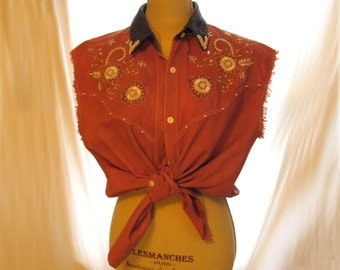 Brown color cut out torn ripped sleeve shirt for women, western cowgirl shabby chic beads floral embroidered shirt top, cowboy belly shirt