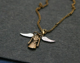 Supernatural inspired angel coat pendant with wings