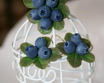Blueberry ring - Polymer clay jewelry - berry jewelry - botanical jewelry - Rustic jewelry - Floral jewelry - flower jewelry