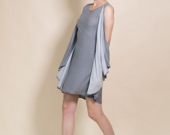 Grey dress, short comfortable dress, loose dress, casual women's dress, casual fashion gift idea, tunic dress