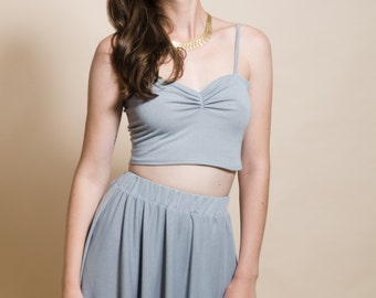Light grey with tiny dots crop top, soft knitted tank crop top, spaghetti strap crop top, grey top, women's clothing