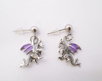 Purple tiny dragon earrings