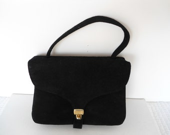 50s Lesco Lona Mad Men Classic Black Suede Leather Clutch with Gold Metal Lock